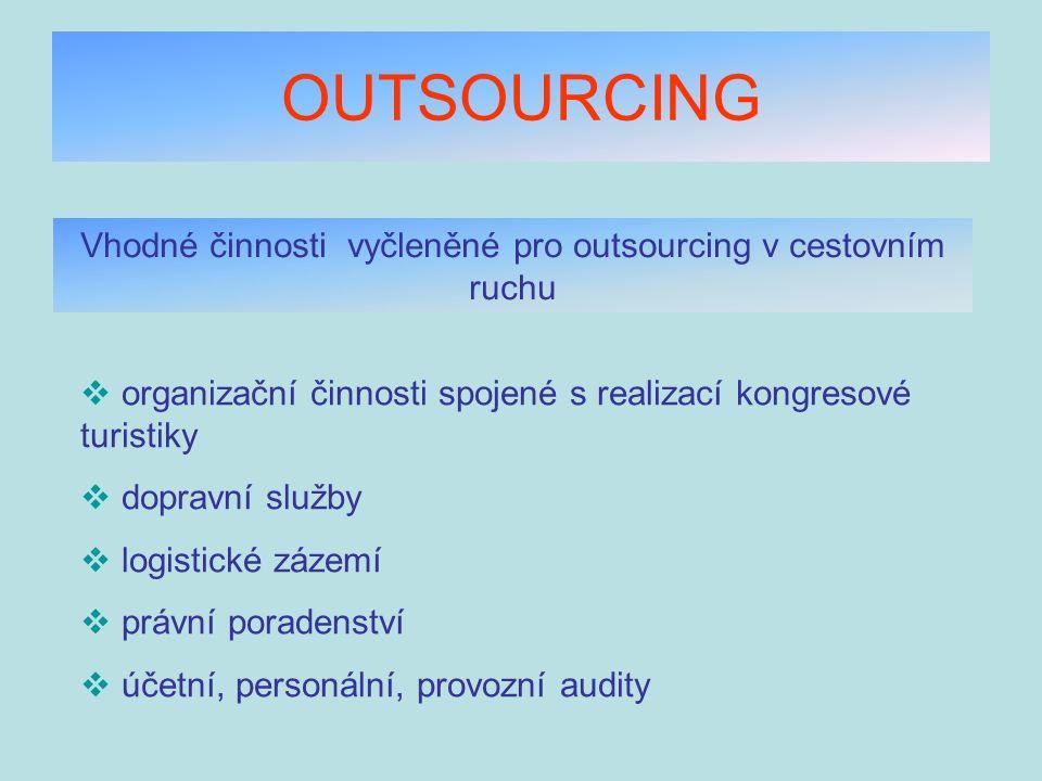 OUTSOURCING Vhodné činnosti vyčleněné pro outsourcing v cestovním ruchu  organizační činnosti spojené s realizací kongresové turistiky  dopravní slu