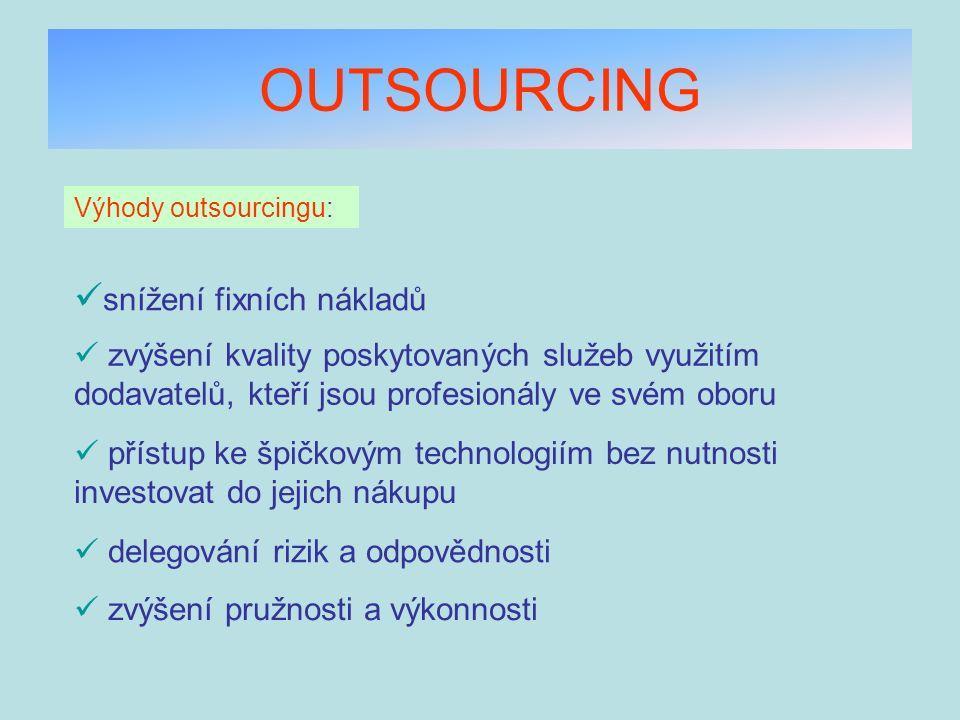OUTSOURCING Výhody outsourcingu: snížení fixních nákladů zvýšení kvality poskytovaných služeb využitím dodavatelů, kteří jsou profesionály ve svém obo