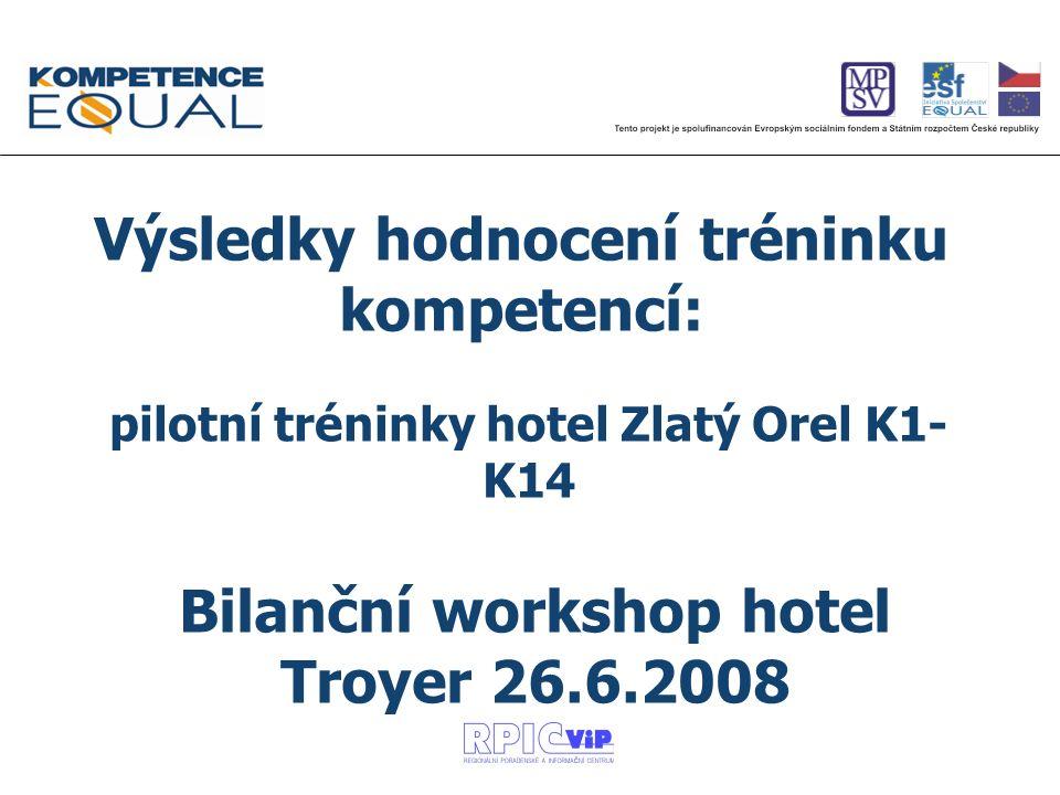 pilotní tréninky hotel Zlatý Orel K1- K14 Výsledky hodnocení tréninku kompetencí: Bilanční workshop hotel Troyer 26.6.2008