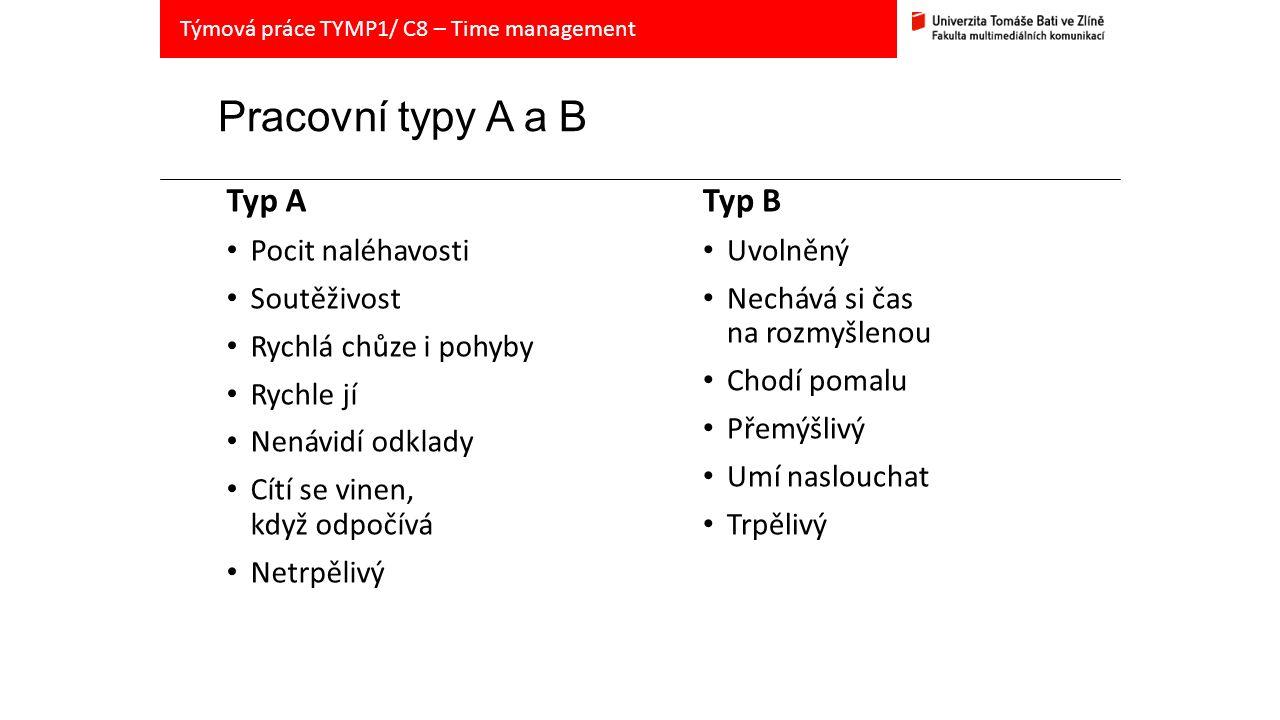 Pracovní typy A a B Typ A Pocit naléhavosti Soutěživost Rychlá chůze i pohyby Rychle jí Nenávidí odklady Cítí se vinen, když odpočívá Netrpělivý Typ B Uvolněný Nechává si čas na rozmyšlenou Chodí pomalu Přemýšlivý Umí naslouchat Trpělivý Týmová práce TYMP1/ C8 – Time management