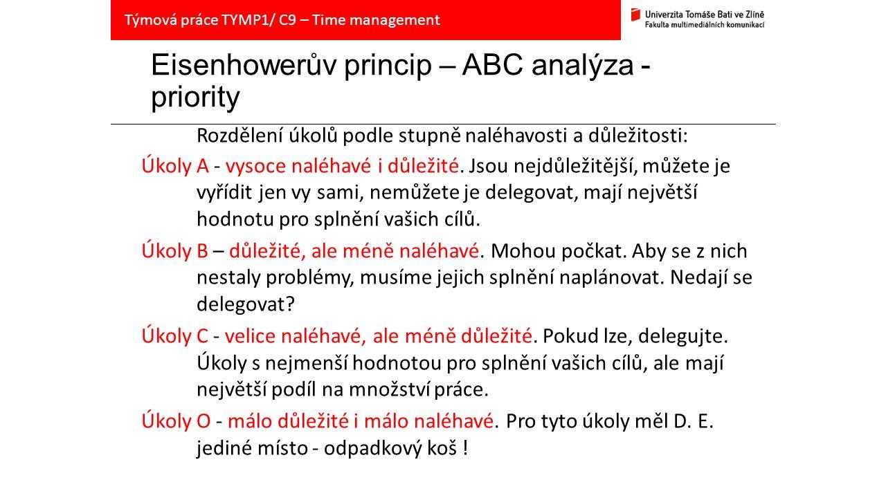 Eisenhowerův princip – ABC analýza - priority Rozdělení úkolů podle stupně naléhavosti a důležitosti: Úkoly A - vysoce naléhavé i důležité.