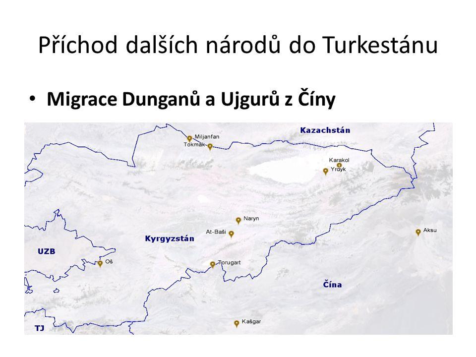 Příchod dalších národů do Turkestánu Migrace Dunganů a Ujgurů z Číny