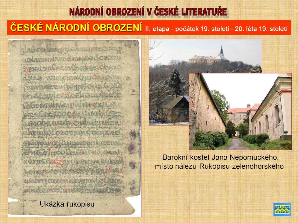 Ukázka rukopisu Barokní kostel Jana Nepomuckého, místo nálezu Rukopisu zelenohorského