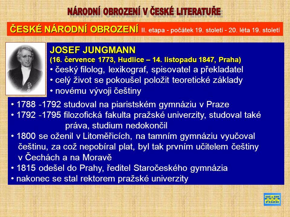 ČESKÉ NÁRODNÍ OBROZENÍ ČESKÉ NÁRODNÍ OBROZENÍ II. etapa - počátek 19.