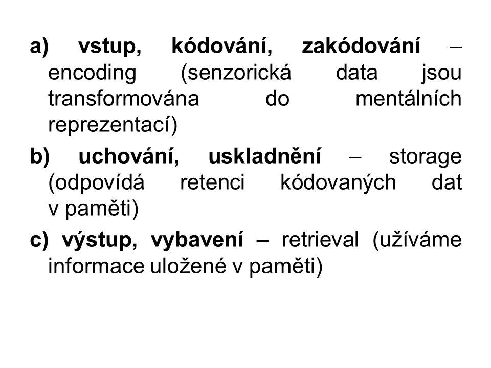 a) vstup, kódování, zakódování – encoding (senzorická data jsou transformována do mentálních reprezentací) b) uchování, uskladnění – storage (odpovídá retenci kódovaných dat v paměti) c) výstup, vybavení – retrieval (užíváme informace uložené v paměti)
