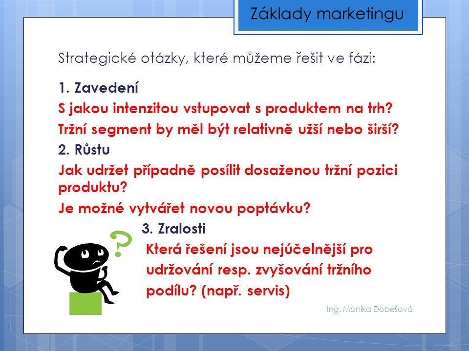 Ing. Monika Dobešová Strategické otázky, které můžeme řešit ve fázi: 1.