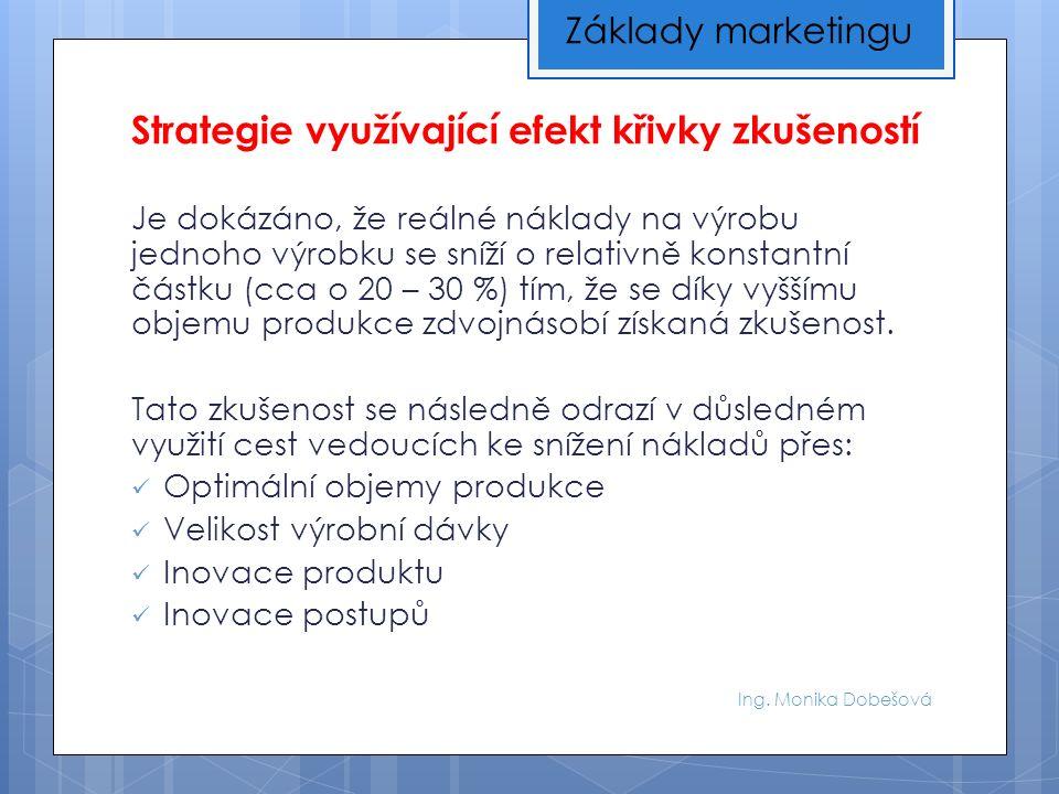 Ing. Monika Dobešová Strategie využívající efekt křivky zkušeností Je dokázáno, že reálné náklady na výrobu jednoho výrobku se sníží o relativně konst