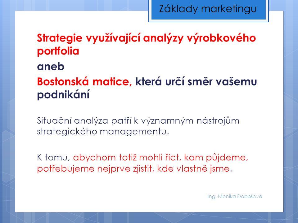 Ing. Monika Dobešová Strategie využívající analýzy výrobkového portfolia aneb Bostonská matice, která určí směr vašemu podnikání Situační analýza patř