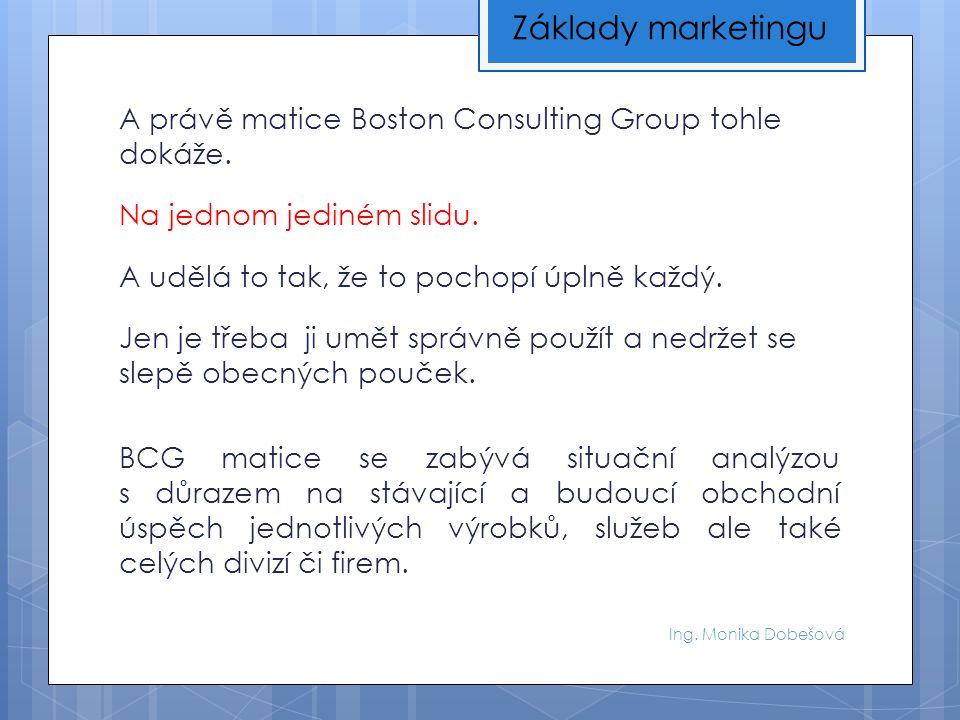 Ing. Monika Dobešová A právě matice Boston Consulting Group tohle dokáže.