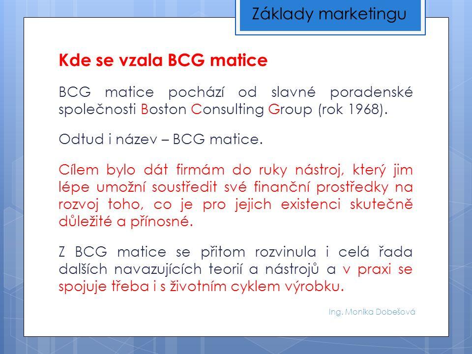 Ing. Monika Dobešová Kde se vzala BCG matice BCG matice pochází od slavné poradenské společnosti Boston Consulting Group (rok 1968). Odtud i název – B