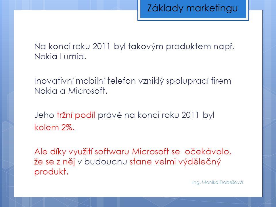Ing. Monika Dobešová Na konci roku 2011 byl takovým produktem např.