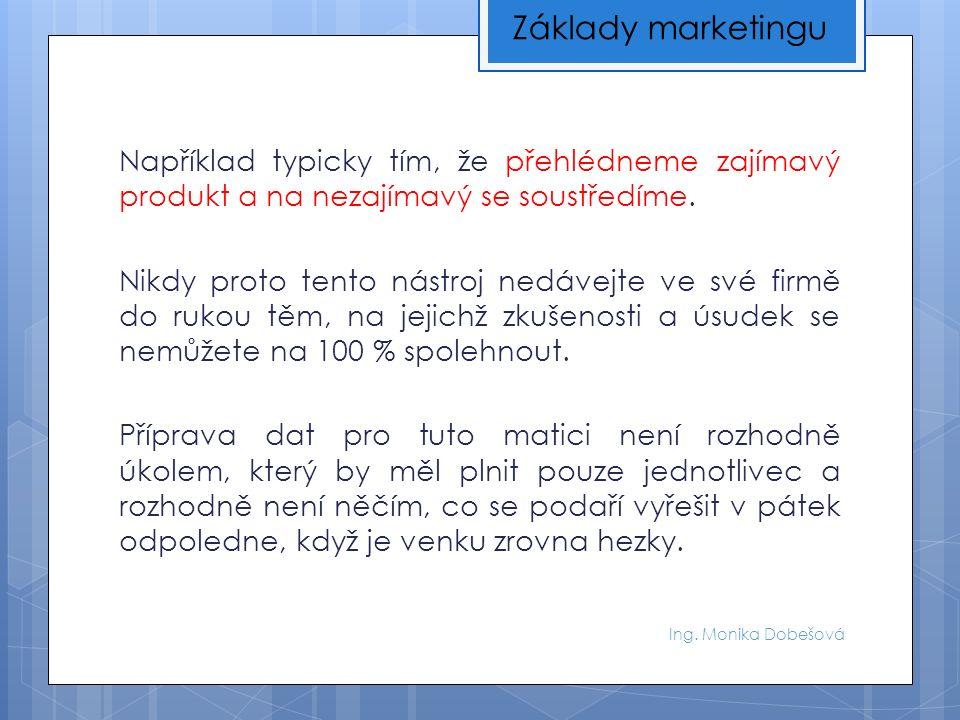 Ing. Monika Dobešová Například typicky tím, že přehlédneme zajímavý produkt a na nezajímavý se soustředíme. Nikdy proto tento nástroj nedávejte ve své