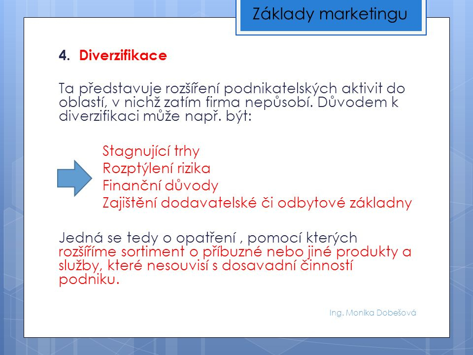 Ing.Monika Dobešová 4. Hladoví psi (DOGS) Produkty, které se neuplatní ani na klesajícím trhu.