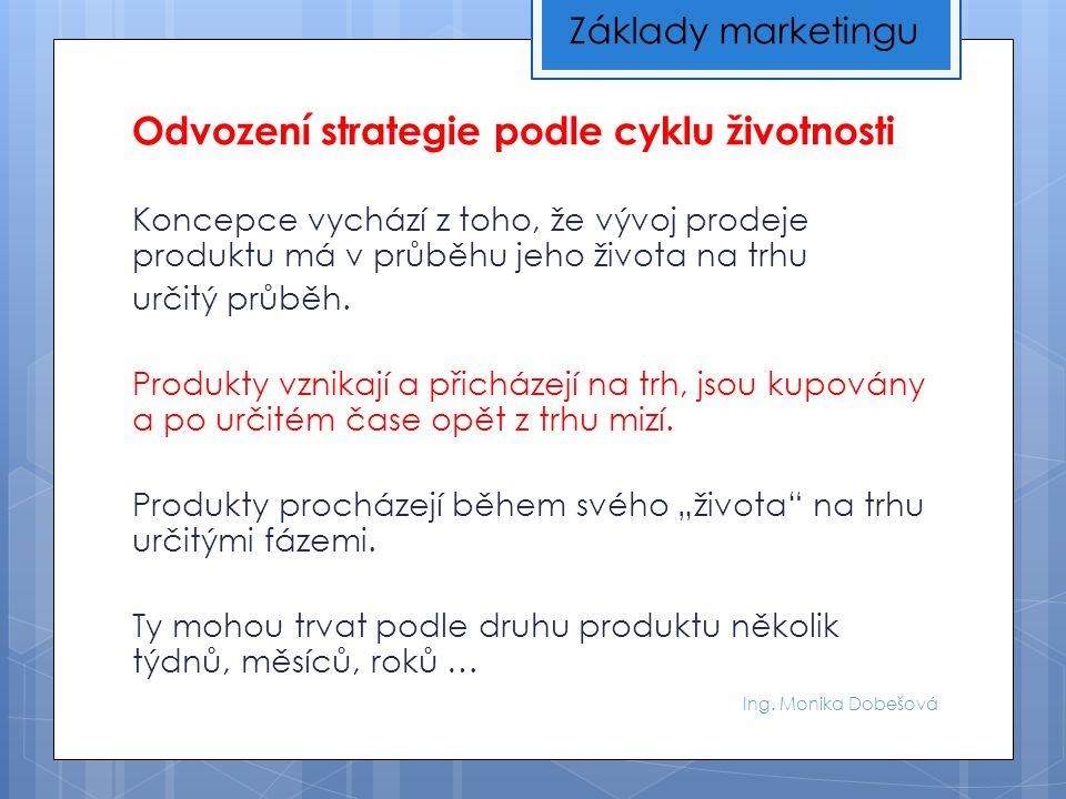 Ing. Monika Dobešová Odvození strategie podle cyklu životnosti Koncepce vychází z toho, že vývoj prodeje produktu má v průběhu jeho života na trhu urč