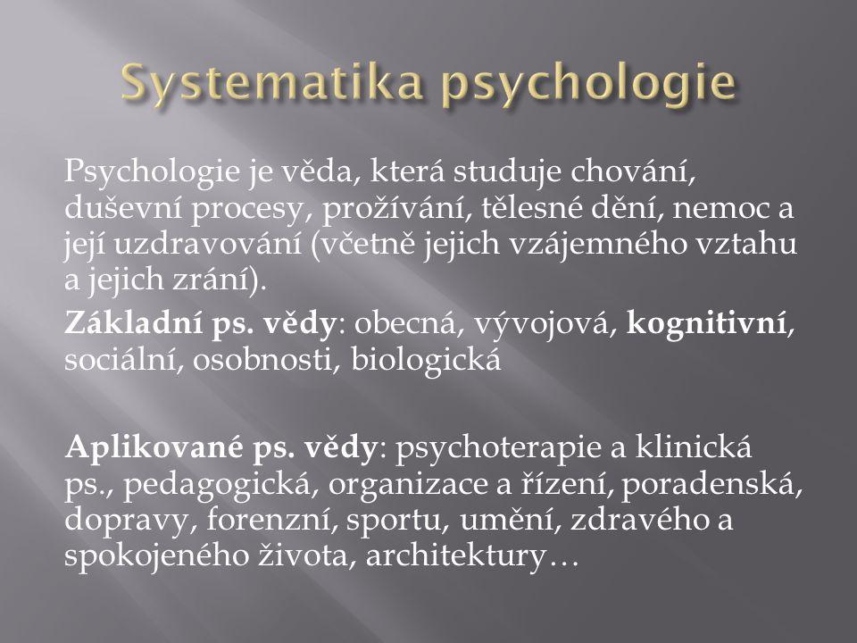 Psychologie je věda, která studuje chování, duševní procesy, prožívání, tělesné dění, nemoc a její uzdravování (včetně jejich vzájemného vztahu a jejich zrání).