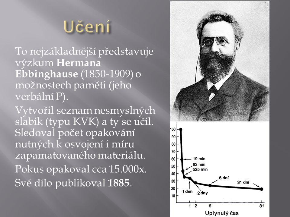 To nejzákladnější představuje výzkum Hermana Ebbinghause (1850-1909) o možnostech paměti (jeho verbální P).