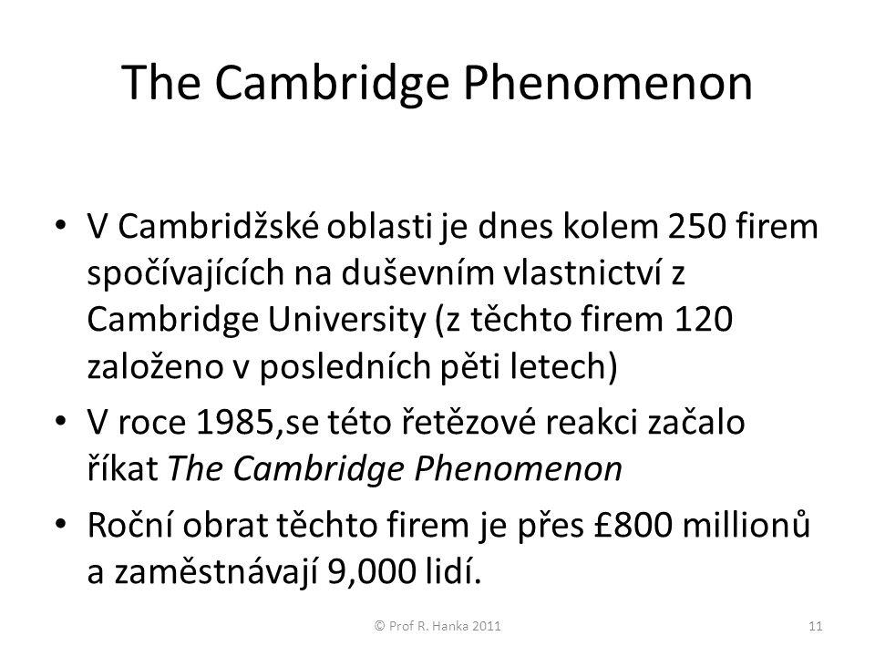The Cambridge Phenomenon V Cambridžské oblasti je dnes kolem 250 firem spočívajících na duševním vlastnictví z Cambridge University (z těchto firem 120 založeno v posledních pěti letech) V roce 1985,se této řetězové reakci začalo říkat The Cambridge Phenomenon Roční obrat těchto firem je přes £800 millionů a zaměstnávají 9,000 lidí.