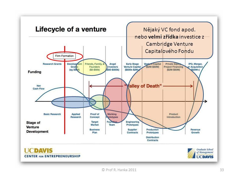 Nějaký VC fond apod. nebo velmi zřídka investice z Cambridge Venture Capitalového Fondu © Prof R.