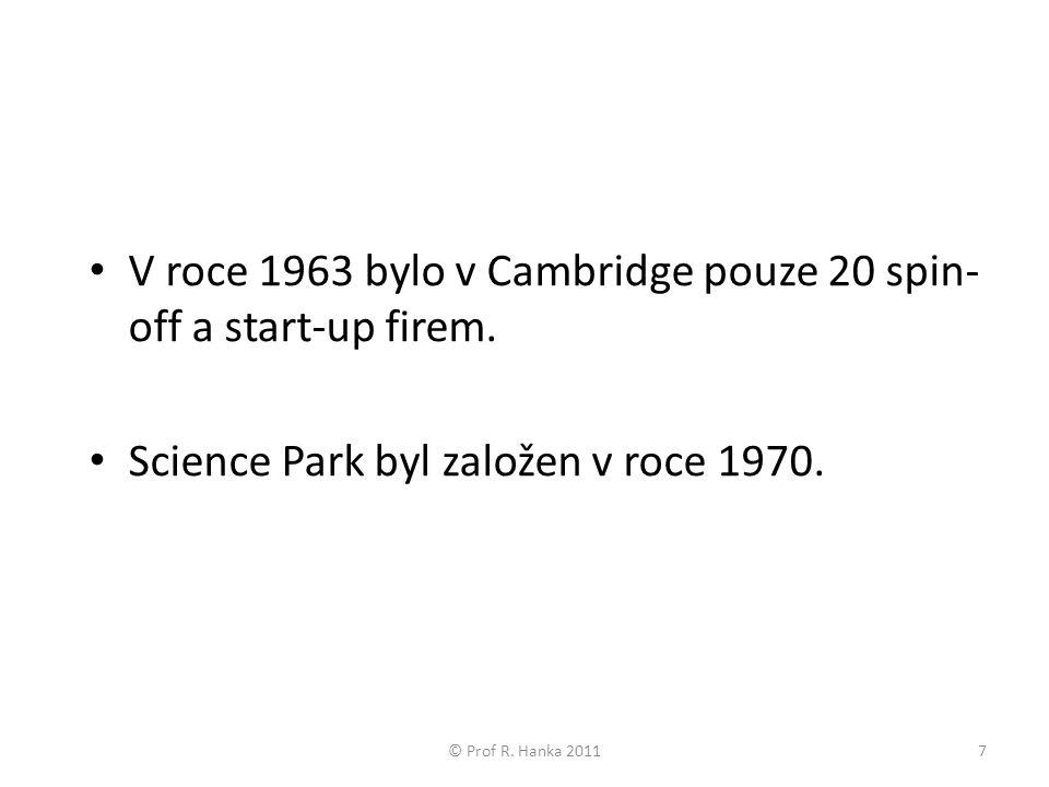 V roce 1963 bylo v Cambridge pouze 20 spin- off a start-up firem.