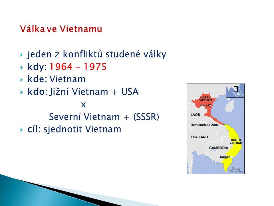  od 1963 v zemi 16 000 Američanů (poradci, zbraně)  1964 – útok Jižního Vietnamu a USA na Severní Vietnam, vzájemné obviňování z provokací  americké bombardování Severu a invaze na Jih (zde 150 000 komunistických partizánů)  Ho Či Minova stezka  krutost amerických vojáků vůči Vietnamcům (mučení, zabíjení, znásilňování, vypalování vesnic,…)  používání jedovatých chemikálií (napalm)