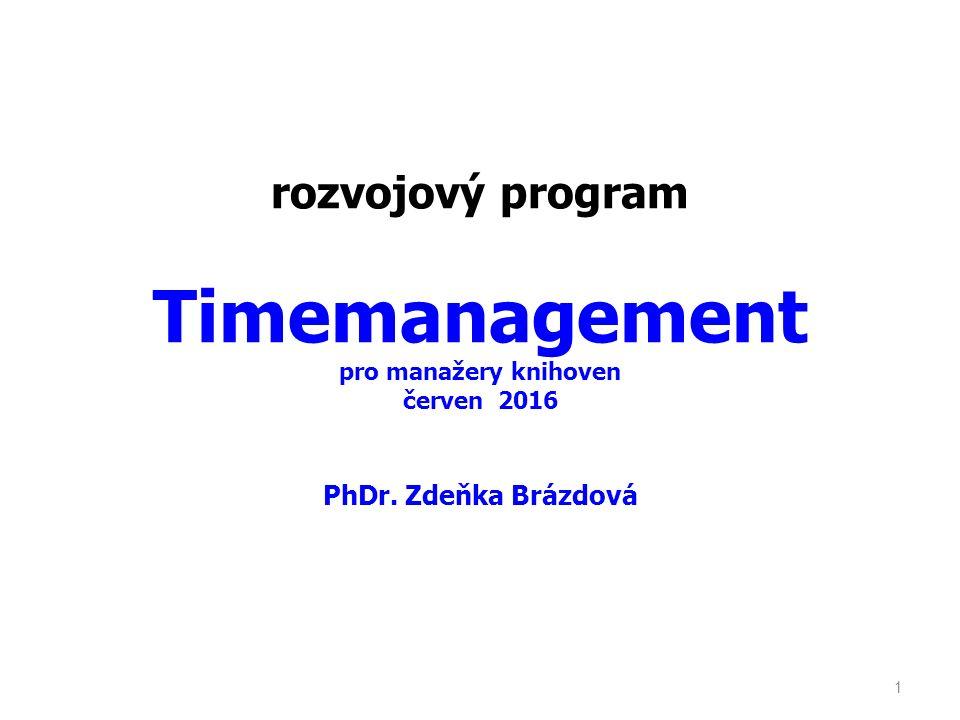 """Obsah semináře Koncept řízení času, generace řízení času Nástroje řízení času – paradigma důležitosti, orientace na cíle, definování cílů, rozhodování pro určování priorit … Řízení času a delegování, umění delegovat, bariéry delegování Základní principy efektivního plánování času - denní, týdenní, dlouhodobé plánování… """"Zloději času , nástroje jejich identifikace a eliminace Zlozvyky neefektivního nakládání s časem Praktické inspirace pro efektivní řízení času 2"""