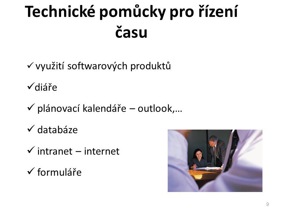 9 využití softwarových produktů diáře plánovací kalendáře – outlook,… databáze intranet – internet formuláře Technické pomůcky pro řízení času
