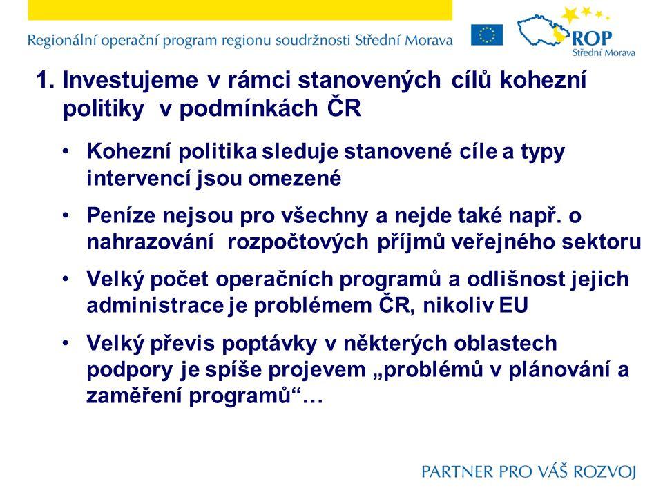 1. Investujeme v rámci stanovených cílů kohezní politiky v podmínkách ČR Kohezní politika sleduje stanovené cíle a typy intervencí jsou omezené Peníze