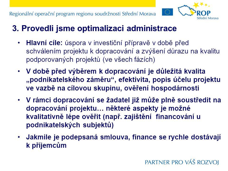3. Provedli jsme optimalizaci administrace Hlavní cíle: úspora v investiční přípravě v době před schválením projektu k dopracování a zvýšení důrazu na