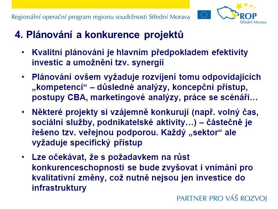 4. Plánování a konkurence projektů Kvalitní plánování je hlavním předpokladem efektivity investic a umožnění tzv. synergií Plánování ovšem vyžaduje ro