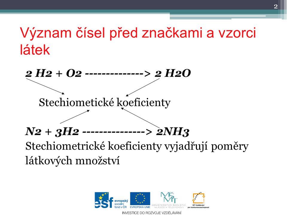 Význam čísel před značkami a vzorci látek 2 H2 + O2 --------------> 2 H2O Stechiometické koeficienty N2 + 3H2 ---------------> 2NH3 Stechiometrické koeficienty vyjadřují poměry látkových množství 2