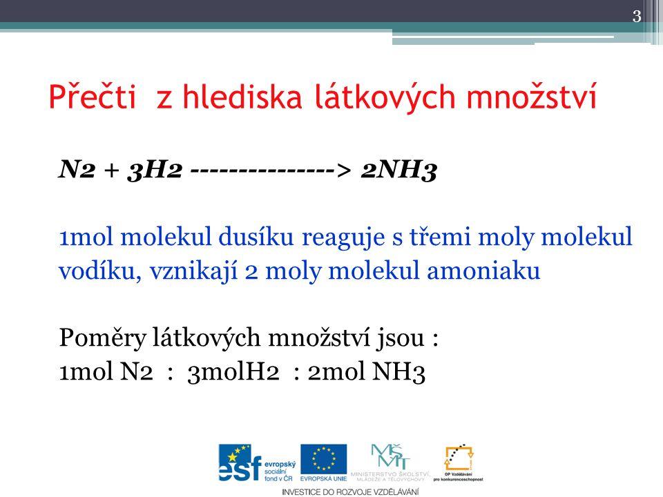 Přečti z hlediska látkových množství N2 + 3H2 ---------------> 2NH3 1mol molekul dusíku reaguje s třemi moly molekul vodíku, vznikají 2 moly molekul amoniaku Poměry látkových množství jsou : 1mol N2 : 3molH2 : 2mol NH3 3