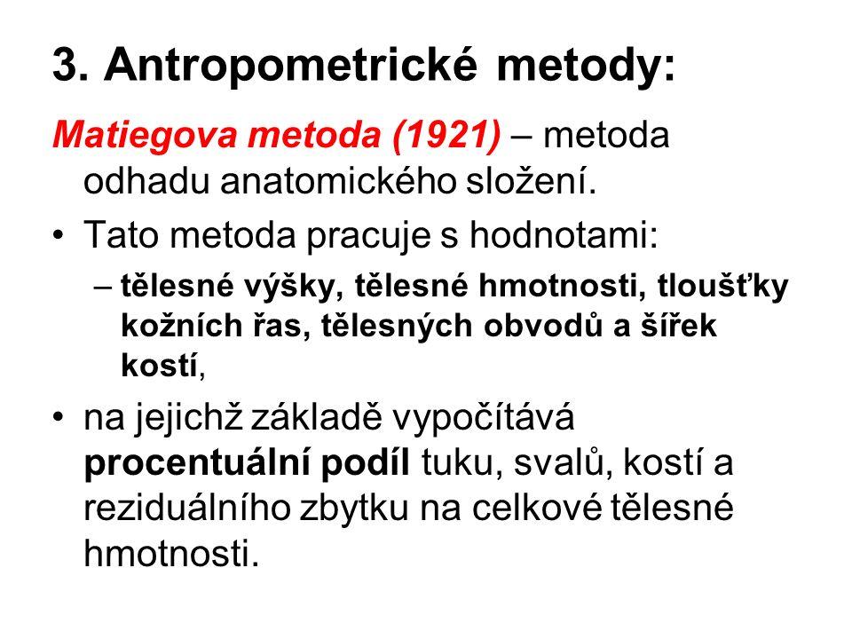 3. Antropometrické metody: Matiegova metoda (1921) – metoda odhadu anatomického složení.