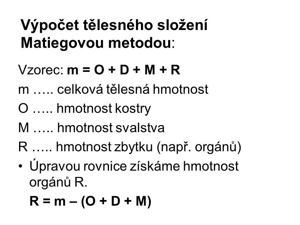 Výpočet tělesného složení Matiegovou metodou: Vzorec: m = O + D + M + R m …..