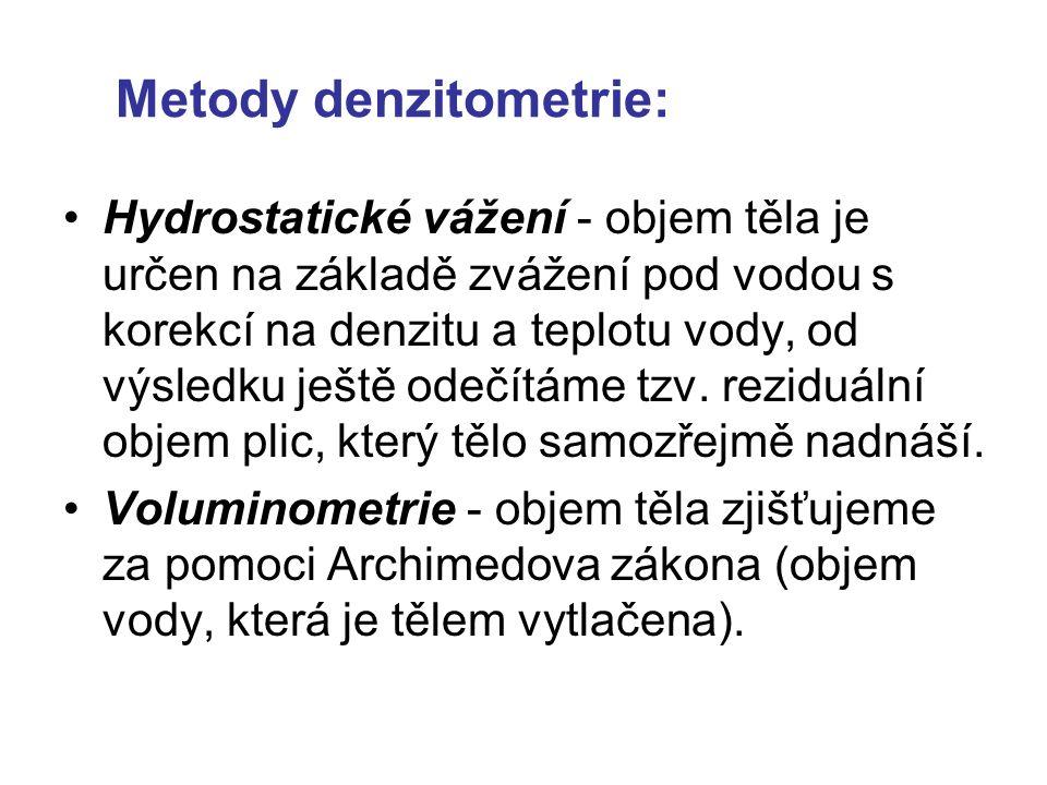 Metody denzitometrie: Hydrostatické vážení - objem těla je určen na základě zvážení pod vodou s korekcí na denzitu a teplotu vody, od výsledku ještě odečítáme tzv.