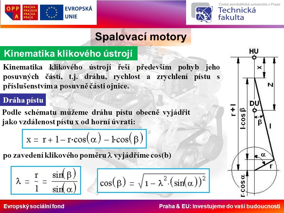 Evropský sociální fond Praha & EU: Investujeme do vaší budoucnosti Spalovací motory Dynamika klikového ústrojí Základní hmotnosti Hmotnost posuvných částí zahrnuje hmotnost pístu s příslušenstvím a hmotnost posouvající se části ojnice: Hmotnost části ojnice m op určíme následujícím postupem.