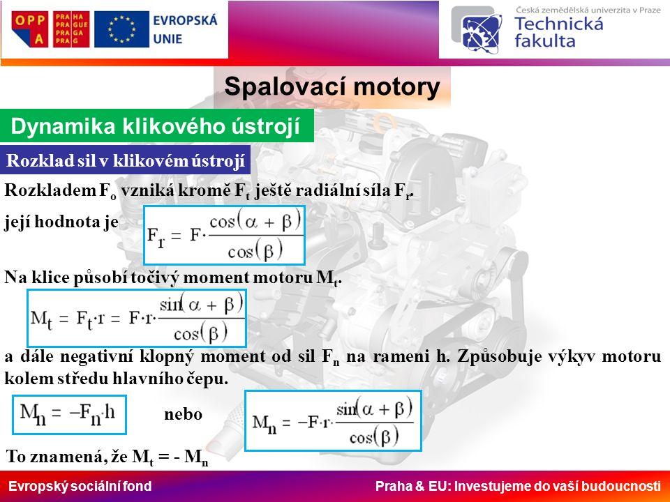 Evropský sociální fond Praha & EU: Investujeme do vaší budoucnosti Spalovací motory Dynamika klikového ústrojí Rozklad sil v klikovém ústrojí Rozkladem F o vzniká kromě F t ještě radiální síla F r.