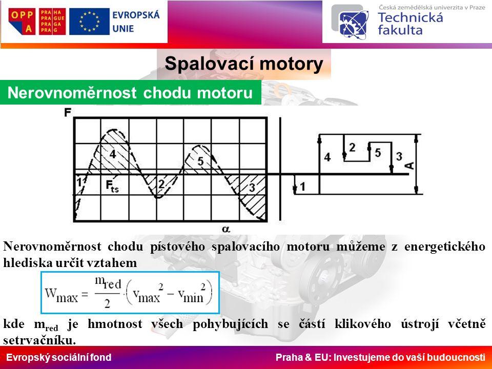 Evropský sociální fond Praha & EU: Investujeme do vaší budoucnosti Spalovací motory Nerovnoměrnost chodu motoru Nerovnoměrnost chodu pístového spalovacího motoru můžeme z energetického hlediska určit vztahem kde m red je hmotnost všech pohybujících se částí klikového ústrojí včetně setrvačníku.