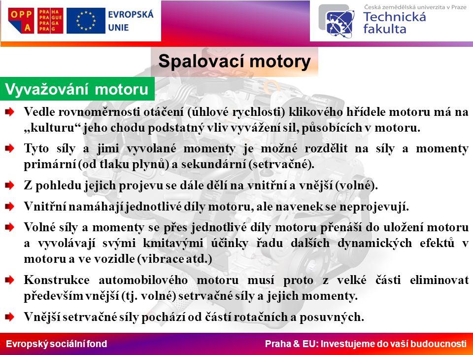"""Evropský sociální fond Praha & EU: Investujeme do vaší budoucnosti Spalovací motory Vyvažování motoru Vedle rovnoměrnosti otáčení (úhlové rychlosti) klikového hřídele motoru má na """"kulturu jeho chodu podstatný vliv vyvážení sil, působících v motoru."""