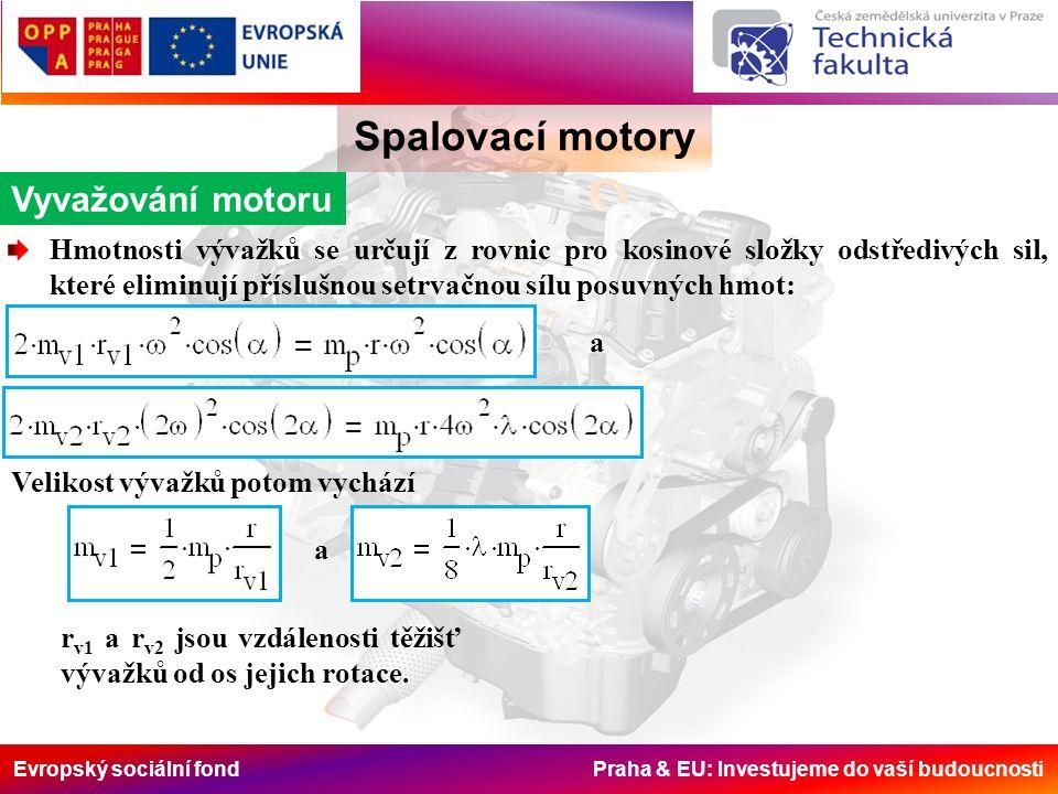 Evropský sociální fond Praha & EU: Investujeme do vaší budoucnosti Spalovací motory Vyvažování motoru Hmotnosti vývažků se určují z rovnic pro kosinové složky odstředivých sil, které eliminují příslušnou setrvačnou sílu posuvných hmot: a Velikost vývažků potom vychází a r v1 a r v2 jsou vzdálenosti těžišť vývažků od os jejich rotace.