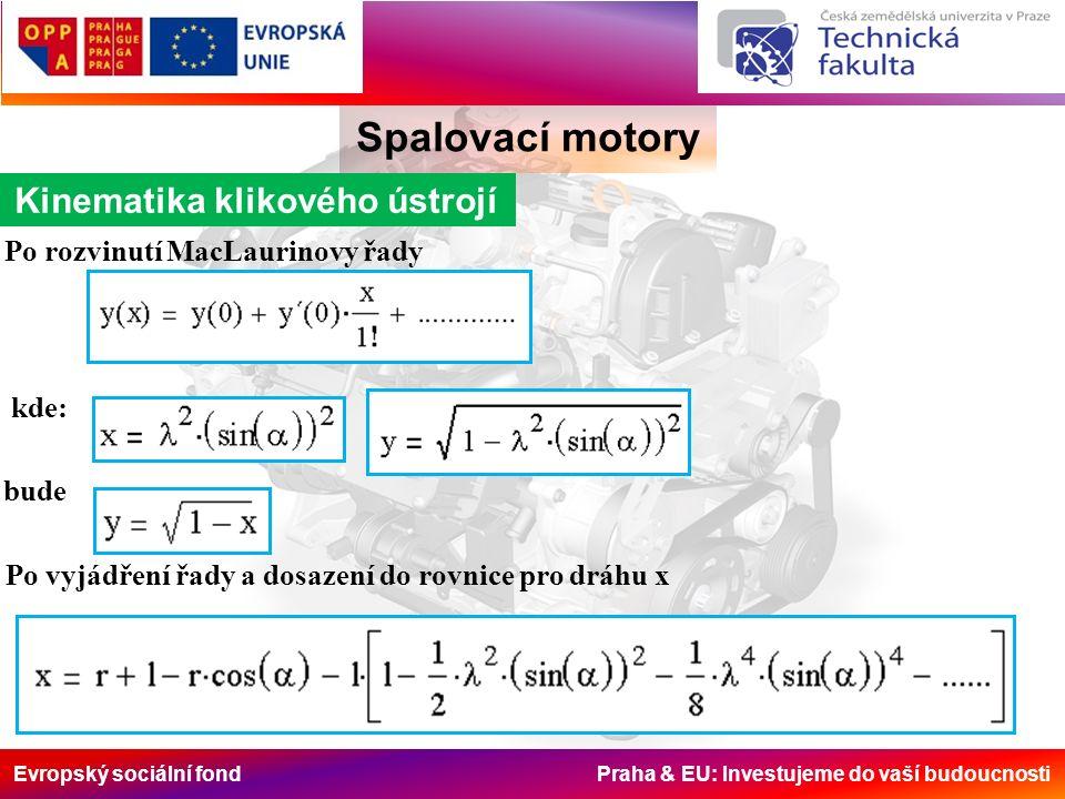 Evropský sociální fond Praha & EU: Investujeme do vaší budoucnosti Spalovací motory Kinematika klikového ústrojí Sinové složky rychle konvergují.