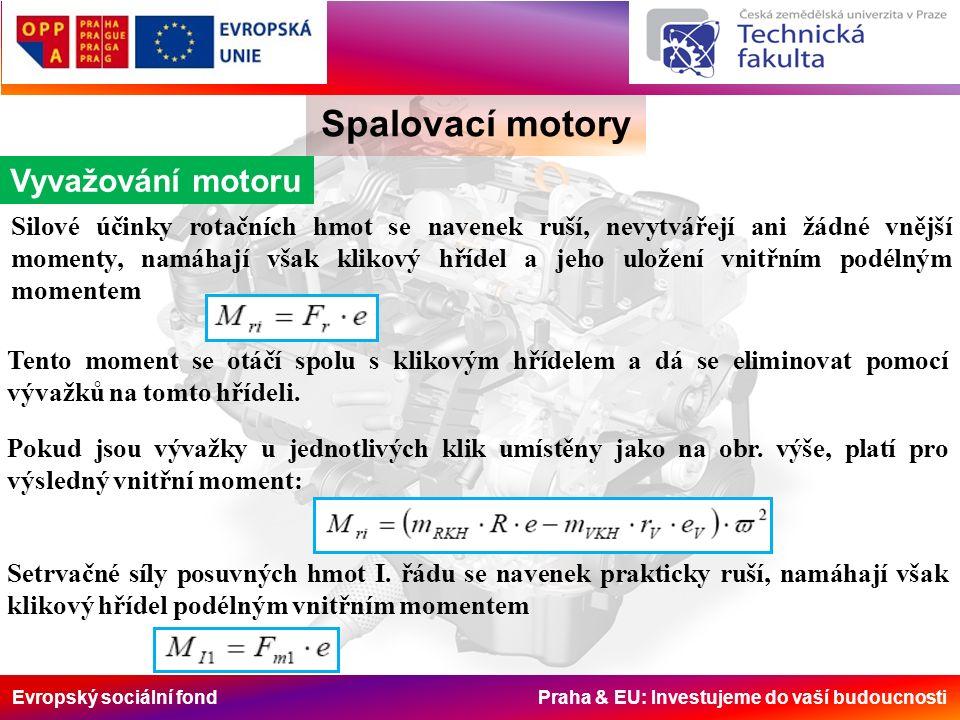 Evropský sociální fond Praha & EU: Investujeme do vaší budoucnosti Spalovací motory Vyvažování motoru Silové účinky rotačních hmot se navenek ruší, nevytvářejí ani žádné vnější momenty, namáhají však klikový hřídel a jeho uložení vnitřním podélným momentem Tento moment se otáčí spolu s klikovým hřídelem a dá se eliminovat pomocí vývažků na tomto hřídeli.
