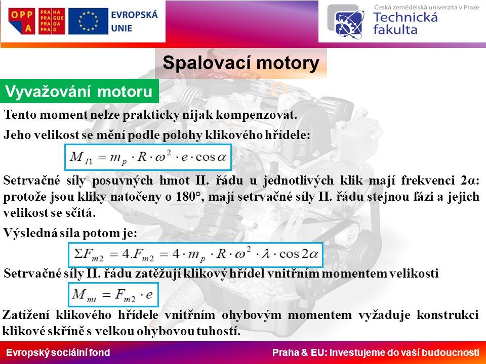 Evropský sociální fond Praha & EU: Investujeme do vaší budoucnosti Spalovací motory Vyvažování motoru Tento moment nelze prakticky nijak kompenzovat.