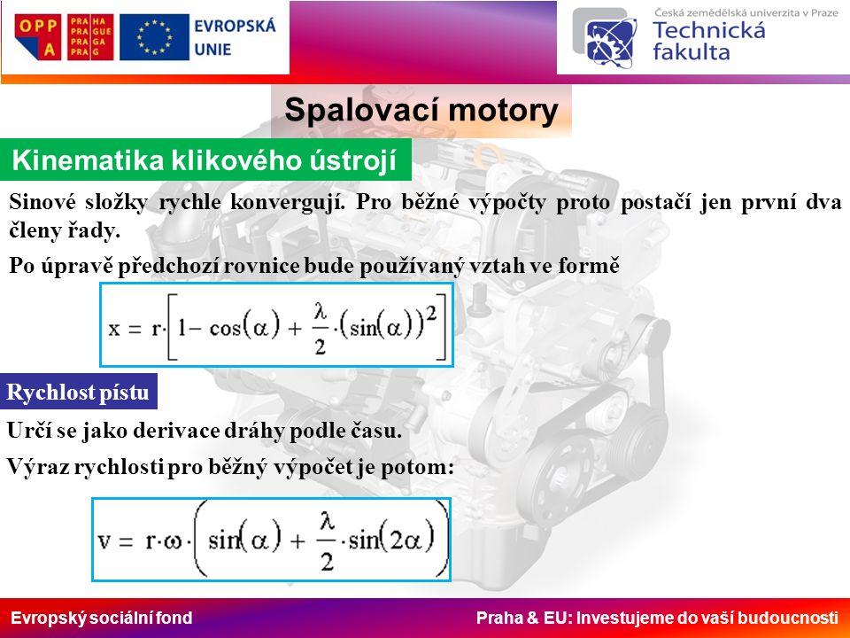 Evropský sociální fond Praha & EU: Investujeme do vaší budoucnosti Spalovací motory Vyvažování motoru Řadový 3válcový motor má podobně jako řadový 6válec pootočení jednotlivých klik o 120°.