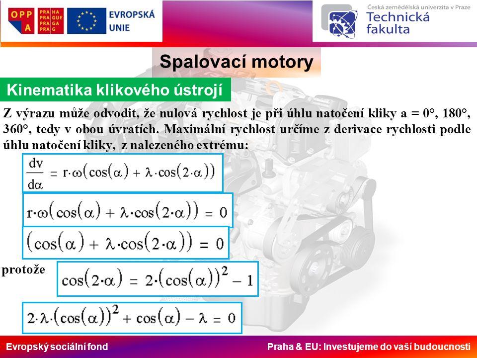 Evropský sociální fond Praha & EU: Investujeme do vaší budoucnosti Z výrazu může odvodit, že nulová rychlost je při úhlu natočení kliky a = 0°, 180°, 360°, tedy v obou úvratích.
