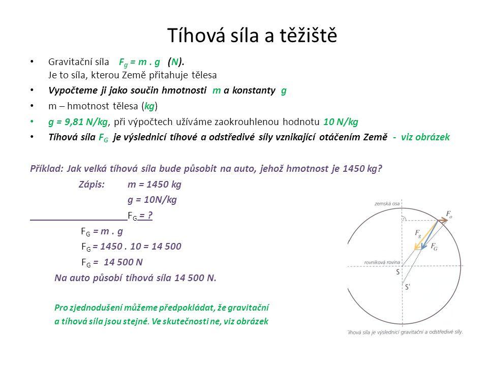 Tíhová síla a těžiště Gravitační síla F g = m. g (N).