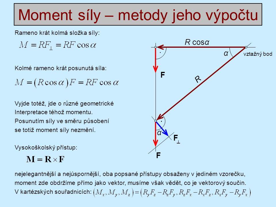 Rameno krát kolmá složka síly: Kolmé rameno krát posunutá síla: Vyjde totéž, jde o různé geometrické Interpretace téhož momentu.