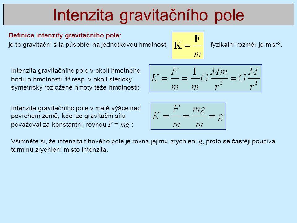Definice intenzity gravitačního pole: je to gravitační síla působící na jednotkovou hmotnost, fyzikální rozměr je m s −2.