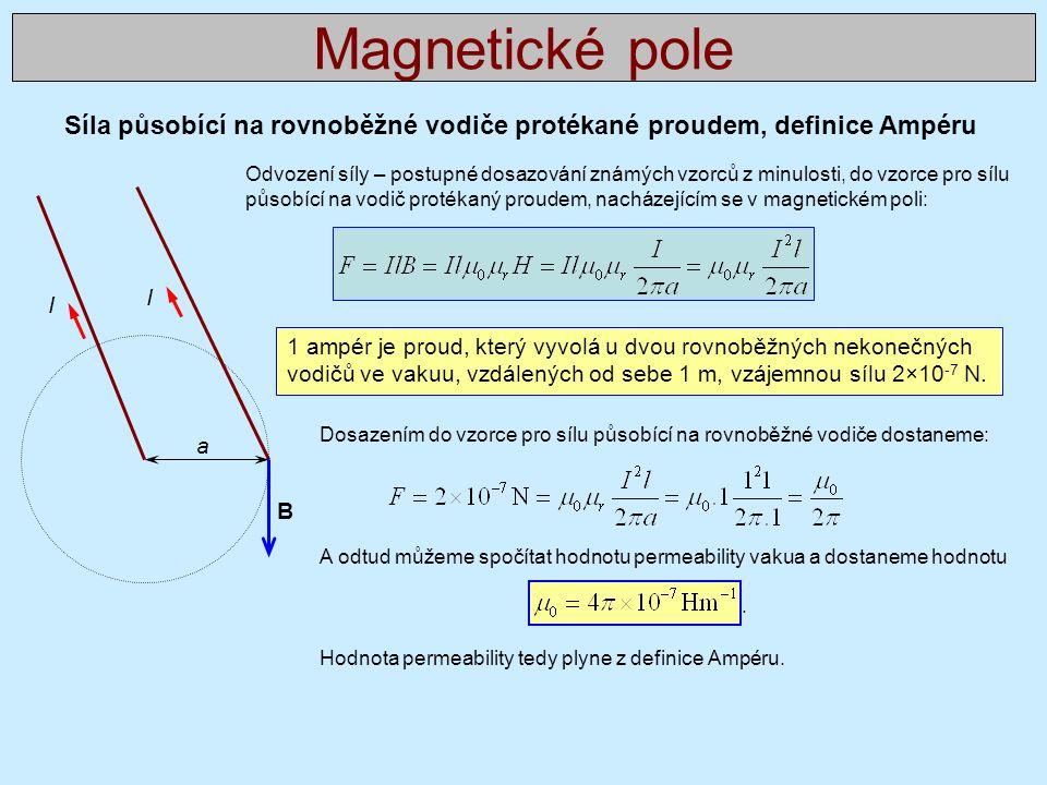 Síla působící na rovnoběžné vodiče protékané proudem, definice Ampéru Magnetické pole I I a 1 ampér je proud, který vyvolá u dvou rovnoběžných nekonečných vodičů ve vakuu, vzdálených od sebe 1 m, vzájemnou sílu 2×10 -7 N.