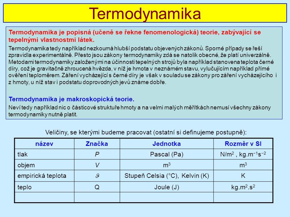 Veličiny, se kterými budeme pracovat (ostatní si definujeme postupně): Termodynamika Termodynamika je popisná (učeně se řekne fenomenologická) teorie, zabývající se tepelnými vlastnostmi látek.