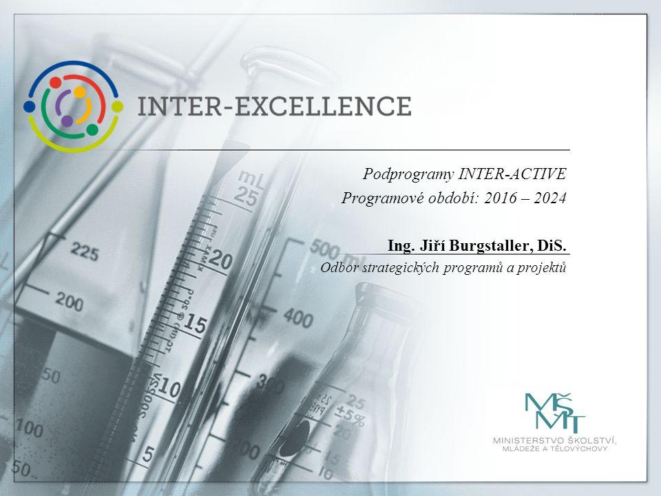 Podprogramy INTER-ACTIVE Programové období: 2016 – 2024 Ing. Jiří Burgstaller, DiS. Odbor strategických programů a projektů
